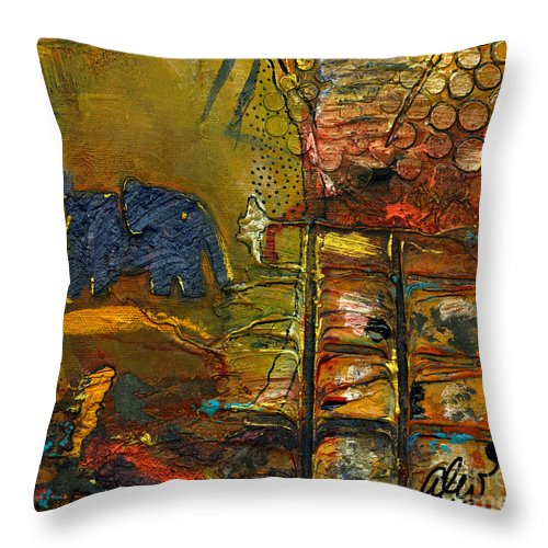 Wood Throw Pillow featuring the mixed media Has Anyone Seen My Mom by Angela L Walker