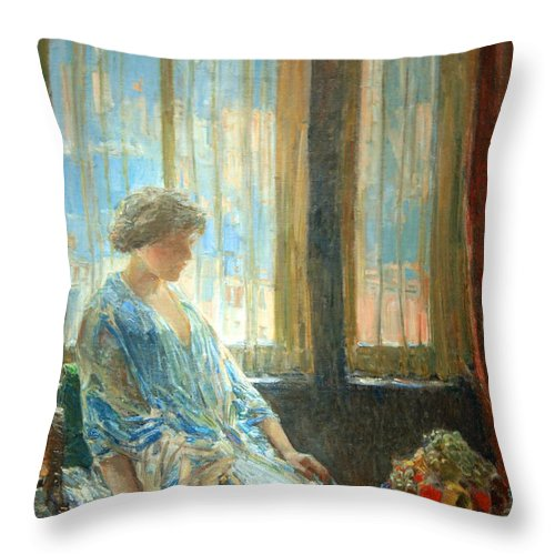 The New York Window Throw Pillow featuring the photograph Hassam's The New York Window by Cora Wandel