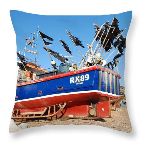 Fishing Throw Pillow featuring the photograph Hastings Fishing Boat by David Fowler