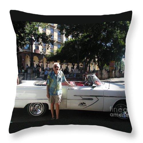 Jimmy Buffett Throw Pillow featuring the photograph Havana Taxi by Desiderata Gallery