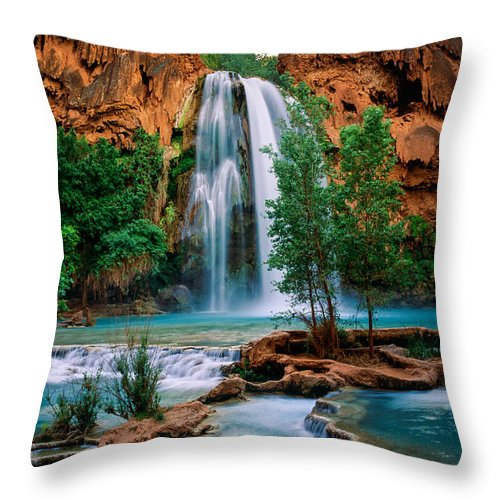 America Throw Pillow featuring the photograph Havasu Cascades by Inge Johnsson