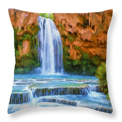 Fine Art Throw Pillow featuring the painting Havasu Falls by David Wagner