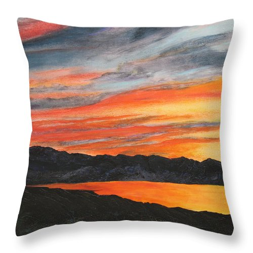 Landscape Throw Pillow featuring the painting Havasu Sunset by Jennifer Hillman
