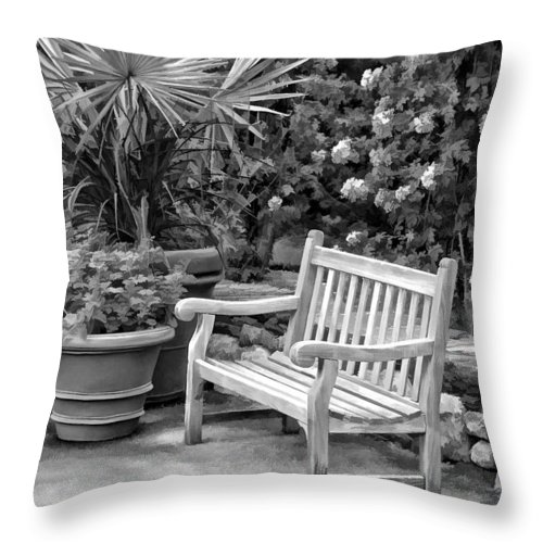 Bench Throw Pillow featuring the photograph Have A Seat by Joyce Baldassarre