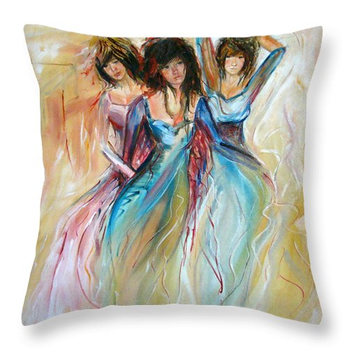 Contemporary Art Throw Pillow featuring the painting Having Fun by Silvana Abel