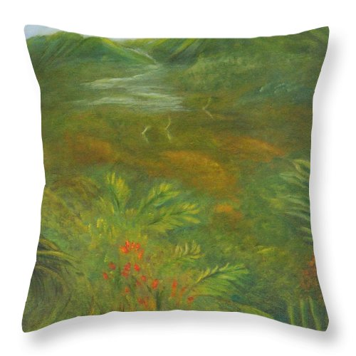 Mountains Throw Pillow featuring the painting Hawaii II by Leona Borge