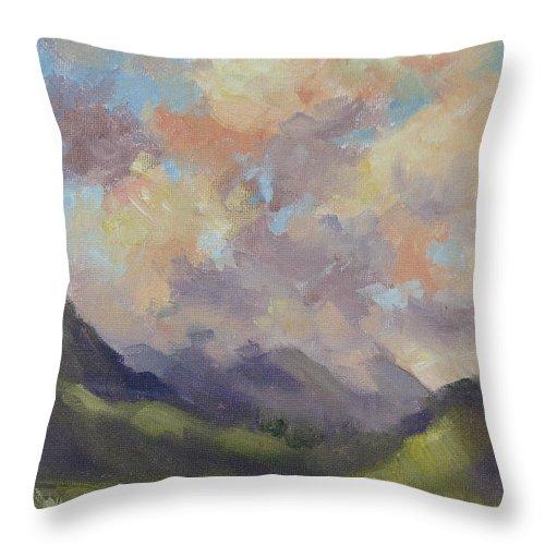 Hawaii Throw Pillow featuring the painting Hawaii Sunrise by Karin Leonard