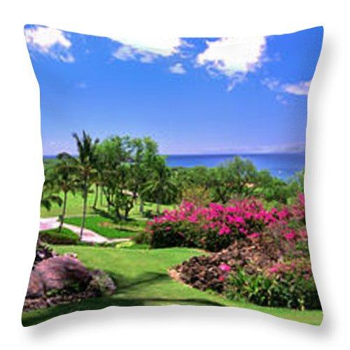 Hawaii Throw Pillow featuring the photograph Hawaii Wailea Gold Course Golf Course Panorama 2 by David Zanzinger