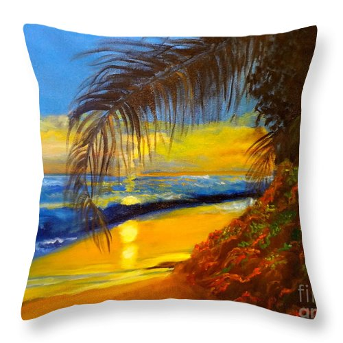 Sunset Throw Pillow featuring the painting Hawaiian Coastal Sunset by Jenny Lee