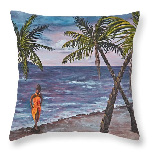 Hawaii Throw Pillow featuring the painting Hawaiian Maiden by Darice Machel McGuire