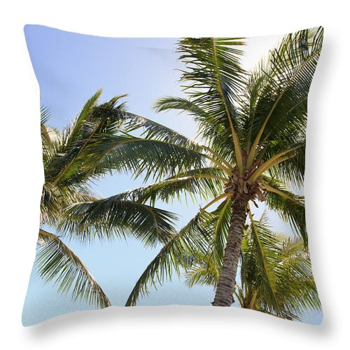 Blue Throw Pillow featuring the photograph Hawaiian Palm Trees by Brandon Tabiolo
