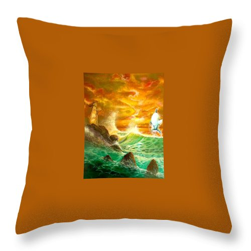 Hawaii Seascape Throw Pillow featuring the painting Hawaiian Spirit Seascape by Leland Castro