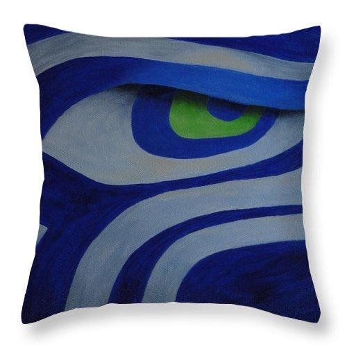 Xochi Hughes Madera Throw Pillow featuring the painting Hawkeye by Xochi Hughes Madera