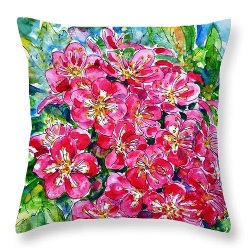 Hawthorn Blossom Throw Pillow featuring the painting Hawthorn Blossom by Zaira Dzhaubaeva