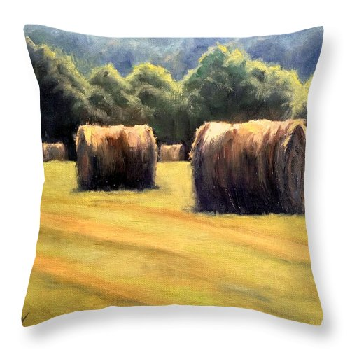 Hay Bales Throw Pillow featuring the painting Hay Bales by Janet King