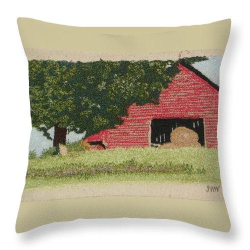 Fiber Throw Pillow featuring the mixed media Hay Barn by Jenny Williams