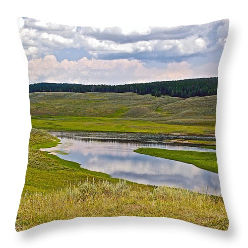 Hayden Valley In Yellowstone National Park Throw Pillow featuring the photograph Hayden Valley In Yellowstone National Park-wyoming by Ruth Hager