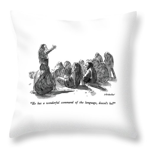 Stone Age Throw Pillow featuring the drawing He Has A Wonderful Command Of The Language by James Stevenson