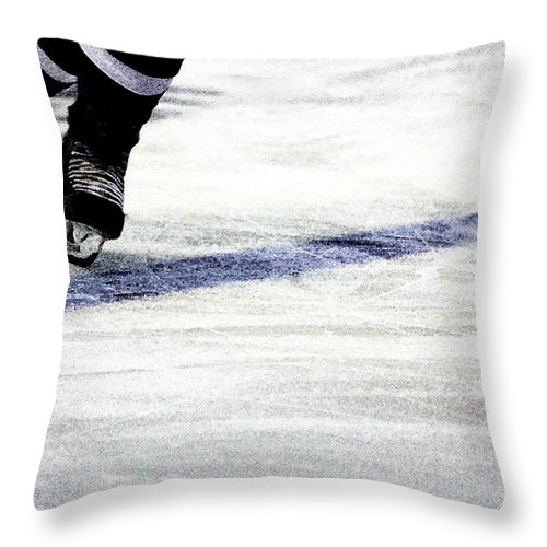 Hockey Throw Pillow featuring the photograph He Skates by Karol Livote