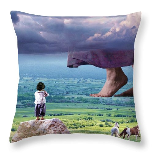 Children Throw Pillow featuring the mixed media He Still Walks Here by Bill Stephens