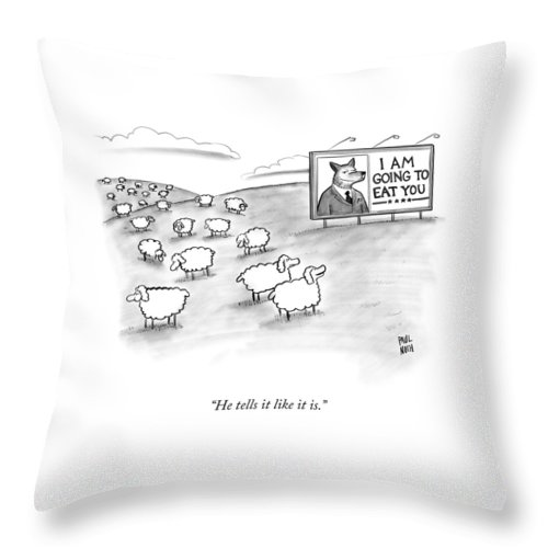 Sheep Throw Pillow featuring the drawing He Tells It Like It Is by Paul Noth