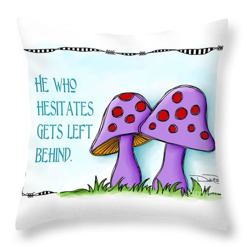 Whimsical Throw Pillow featuring the digital art He Who Hesitates by Debi Payne