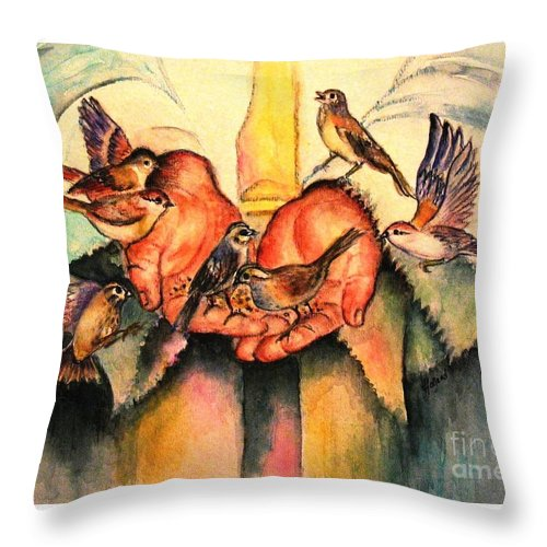 Birds Throw Pillow featuring the painting He Will Provide by Hazel Holland
