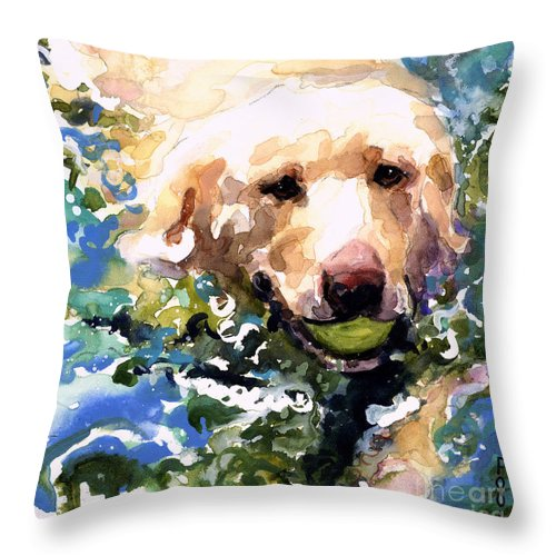 Water Retrieve Throw Pillow featuring the painting Head Above Water by Molly Poole