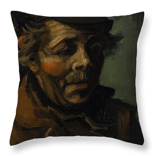1884 Throw Pillow featuring the painting Head Of A Peasant With Cap by Vincent van Gogh
