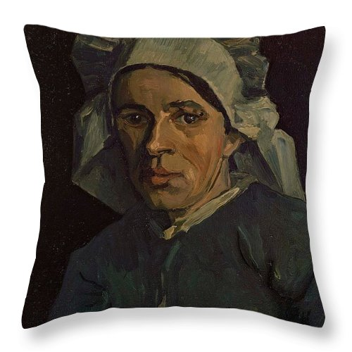1885 Throw Pillow featuring the painting Head Of A Peasant Woman With White Cap by Vincent van Gogh