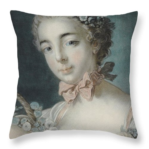 Flora Throw Pillow featuring the pastel Head Of Flora by Francois Boucher