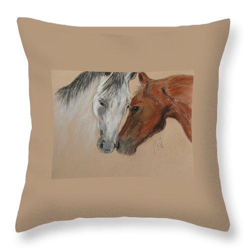 Horse Throw Pillow featuring the drawing Head To Head by Cori Solomon