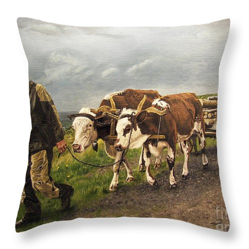 Animals Throw Pillow featuring the painting Heading Home by Deborah Strategier
