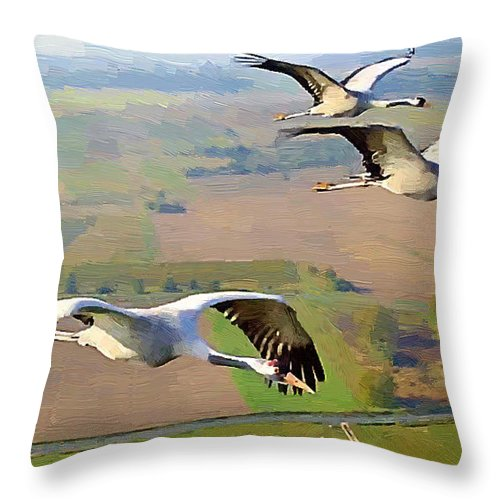 Geese Throw Pillow featuring the painting Heading Home by J Morgan Massey
