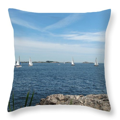 Seascape Throw Pillow featuring the photograph Heading Out by Barbara McDevitt