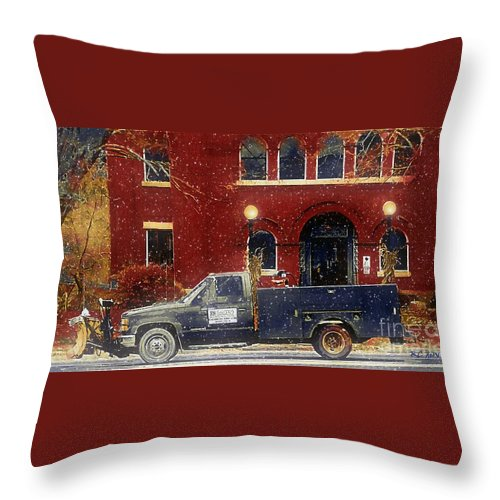 Connecticut Throw Pillow featuring the painting Heading Out To Plow by RC DeWinter
