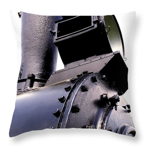 Railroad Throw Pillow featuring the photograph Headlight And Stack by Paul W Faust - Impressions of Light