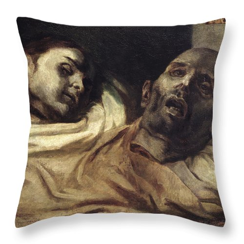 Les Supplicies Throw Pillow featuring the painting Heads Of Torture Victims, Study For The Raft Of The Medusa by Theodore Gericault
