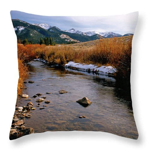 Mountains Throw Pillow featuring the photograph Headwaters Of The River Of No Return by Ed Riche