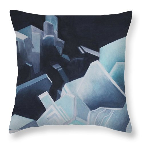 Crystal Throw Pillow featuring the painting Healing Blue Crystals by Diana Perfect