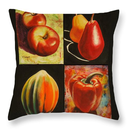 Apples Throw Pillow featuring the painting Healthy Eating by Sheila Diemert