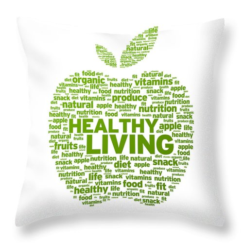 Healthy Throw Pillow featuring the drawing Healthy Living Apple Illustration by Aged Pixel