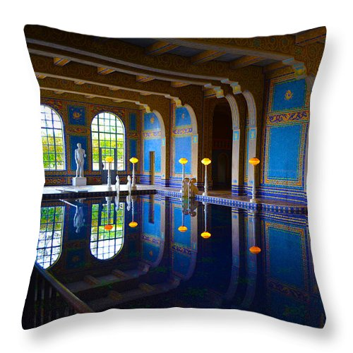 Hearst Castle Indoor Pool Throw Pillow featuring the photograph Hearst Castle Indoor Pool by Marie Fleming