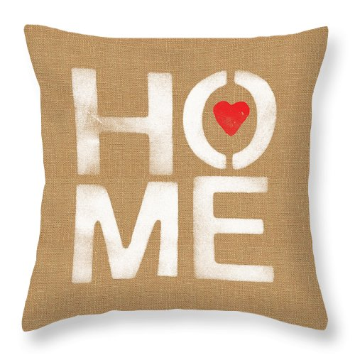 Home Throw Pillow featuring the painting Heart And Home by Linda Woods