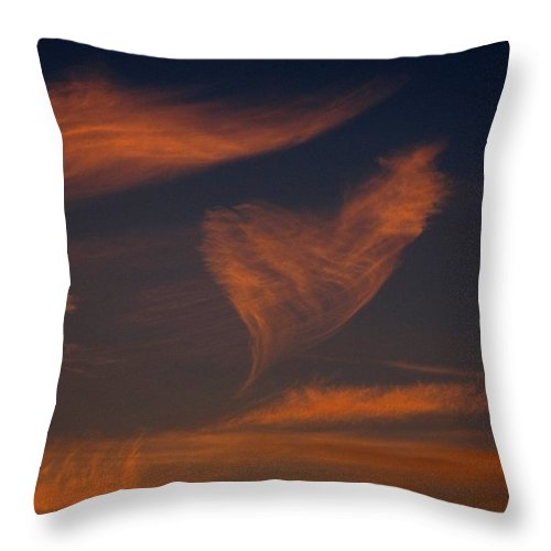 Heart Shaped Cloud Throw Pillow featuring the photograph Heart Cloud by Donnie Freeman