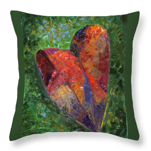 Heart Love Peace Beauty Together Amour Red Green Valentine Throw Pillow featuring the painting Heart by Debra Benditz