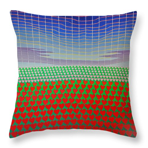 3d Throw Pillow featuring the painting Heart Fields Again by Jesse Jackson Brown