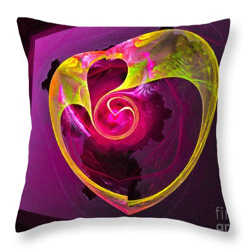 Heart Throw Pillow featuring the digital art Heart Of Gold by Dee Flouton