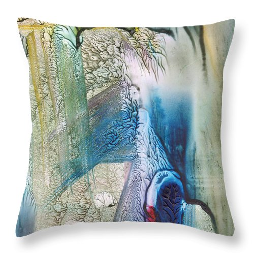Abstract Throw Pillow featuring the painting Heart Of The Matter by Mickey Krause