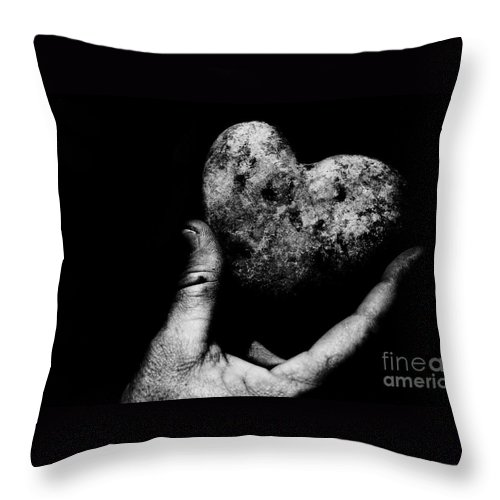 Black Throw Pillow featuring the photograph Heart Shaped Rock by Jessica Shelton